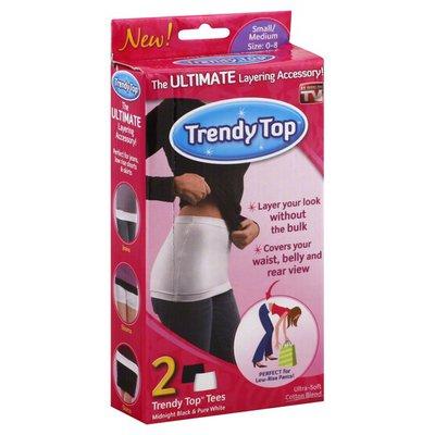 Trendy Top Tees, Midnight Black & Pure White, Small/Medium Size 0-8
