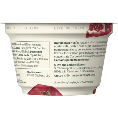 Chobani Greek Yogurt, Non Fat, Pomegranate on the Bottom