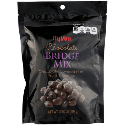 Hy-Vee Chocolate Bridge Mix Chocolate Covered Nuts, Fruits & Cremes