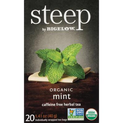Steep By Bigelow Organic Mint Caffeine Free Herbal Tea Bags