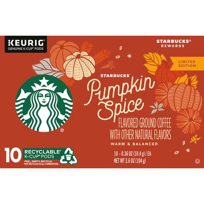 Starbucks Pumpkin Spice Flavored Ground Coffee K Cup Pods