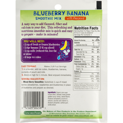 Concord Foods Blueberry Banana Smoothie Mix with Flaxseed