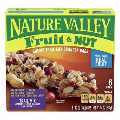 Nature Valley Chewy Trail Mix Granola Bar, Fruit and Nut, 6 Count