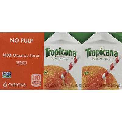 Tropicana Juice, 100% Orange, No Pulp
