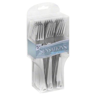 Sensations Silverware, Metallic, Forks