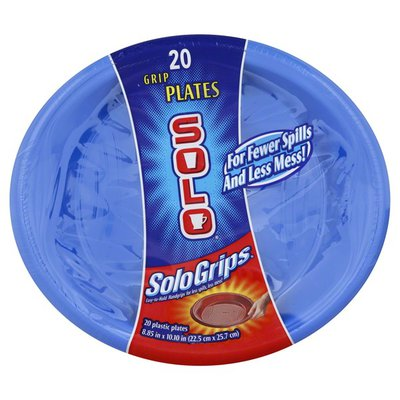 "Solo Grips 9"" Square Plastic Plates"