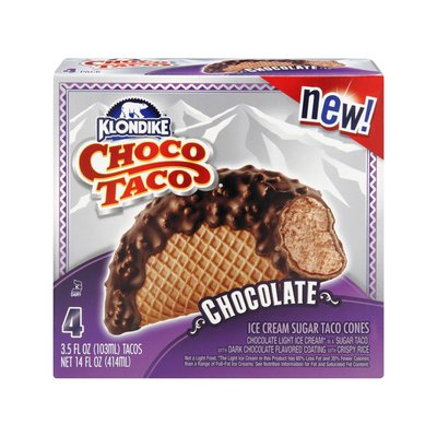 Klondike Choco Taco Chocolate Ice Cream Sugar Taco Cones - 4 PK
