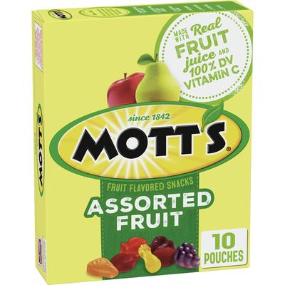 Mott's Assorted Fruit Flavored Snacks, Gluten Free, 10 Count