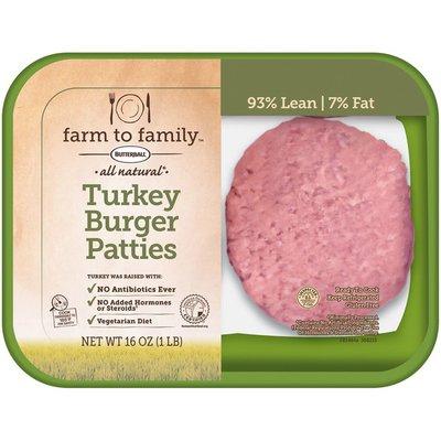 Farm To Family All Natural Turkey Burger Patties