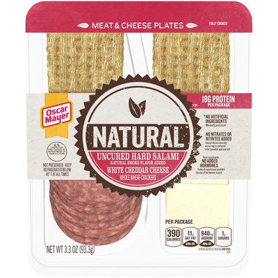Oscar Mayer Meat & Cheese Snack Plate with Uncured Hard Salami, White Cheddar Cheese & Whole Wheat Crackers