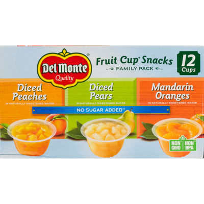Del Monte No Sugar Added Variety Pack Plastic Fruit Cup Snacks