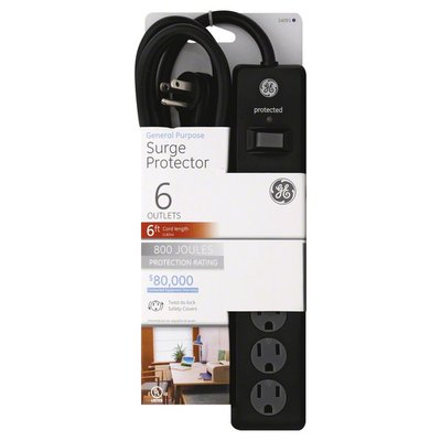 GE Surge Protector, General Purpose, 6 Outlets