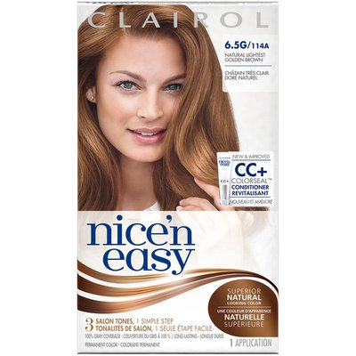 Clairol Nice 'n Easy, 6.5G/114A Natural Lightest Golden Brown, Permanent Hair Color, 1 Kit Female Hair Color
