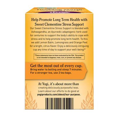 Yogi Tea Herbal Tea. Sweet Clementine Stress Support Tea, Adaptogens to Support Overall Health