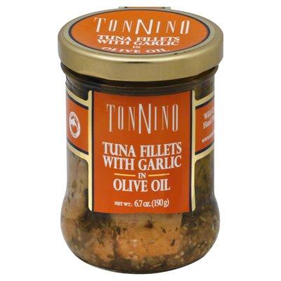 Tonnino Tuna Fillets, with Garlic in Olive Oil, Jar