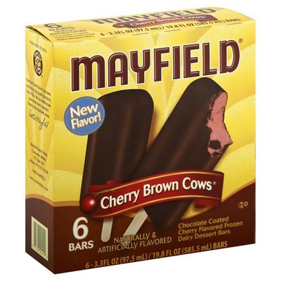 Mayfield Chocolate Coated Frozen Dairy Dessert Bars, Cherry, Box
