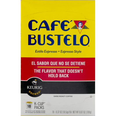 Café Bustelo Coffee, Dark Roast, Espresso Style, K-Cup Pods