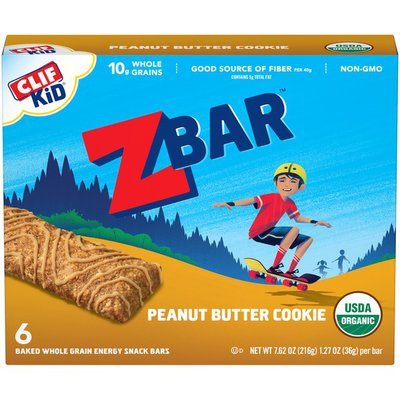 CLIF Kid Organic Peanut Butter Cookie Baked Whole Grain Energy Snack Bars