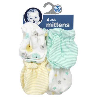 Gerber Mittens, 0-3 M, 4 Pack