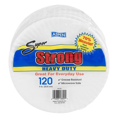 Aspen Clean Super Strong Heavy Duty 9 in.Plates - 120 CT
