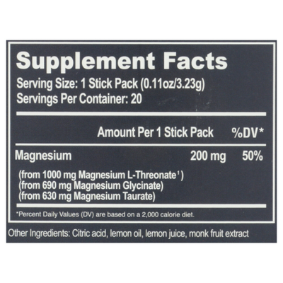 Natural Stacks Magtech Magnesium For Cognition & Brain Health Dietary Supplement Drink Mix Stick Packs, Lemonade