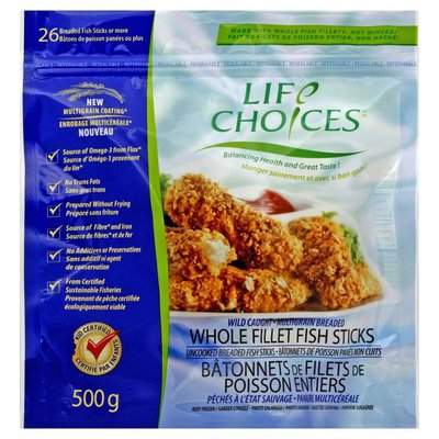 Life Choices Whole Fillet Fish Sticks, Wild Caught, Multigrain Breaded