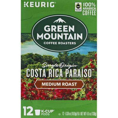 Green Mountain Coffee, 100% Arabica, Medium Roast, Single Origin Costa Rica Paraiso, K-Cup Pods