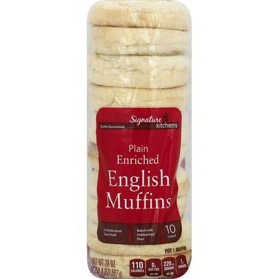 Signature Kitchens English Muffins, Enriched, Plain