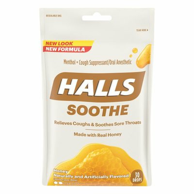 Halls Soothe Honey Menthol Cough Suppressant/Oral Anesthetic Drops