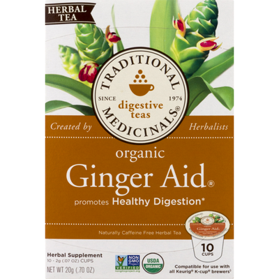 Traditional Medicinals Digestive Teas Organic Ginger Aid K-Cups - 10 CT