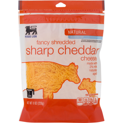 Food Lion Cheese, Natural, Reduced Fat, Sharp Cheddar, Fancy Shredded, Pouch
