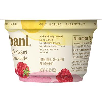Chobani Yogurt, Greek, Low-Fat, Raspberry Lemonade, Layered