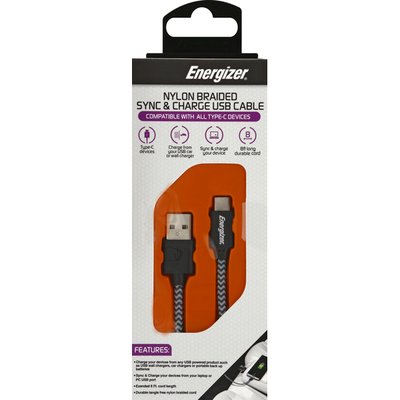 Energizer USB Cable, Sync & Charge, Nylon Braided