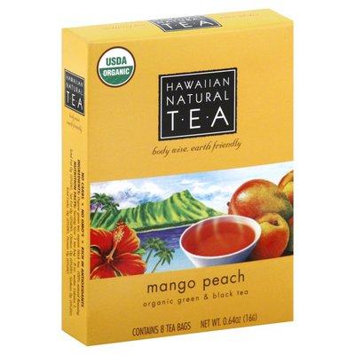 Hawaiian Natural Tea Green & Black Tea, Organic, Mango Peach, Tea Bags