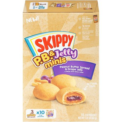 SKIPPY P.B. and Jelly Minis Peanut Butter Spread and Grape Jelly