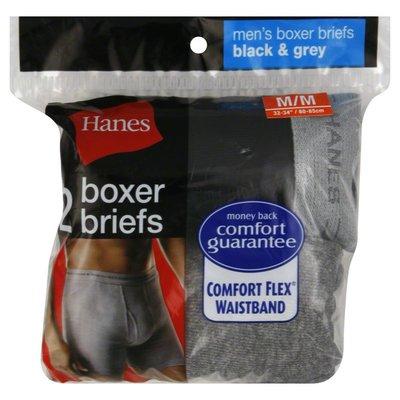 Hanes Boxer Briefs, Men's, M, 32-34 Inch, Black & Grey