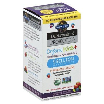 Garden of Life Probiotics + Vitamins C & D, Chewables, Organic Berry Cherry