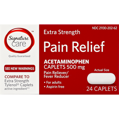Signature Care Pain Relief, for Adults, Extra Strength, 500 mg, Caplets