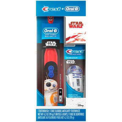 Oral-B Mixed Oral-B and Crest Kid's Holiday Pack featuring Disney's STAR WARS, Kids Fluoride Anticavity Toothpaste and Battery Powered Toothbrush  Power Oral Care