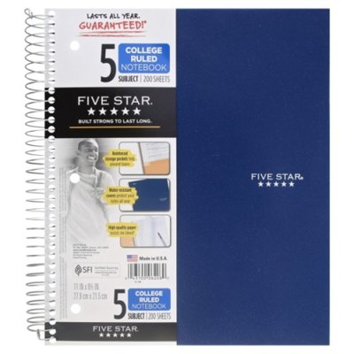 Five Star Notebook, 5 Subject, College Ruled, 200 Sheets