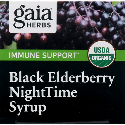 Gaia Herbs Nighttime Syrup, Black Elderberry