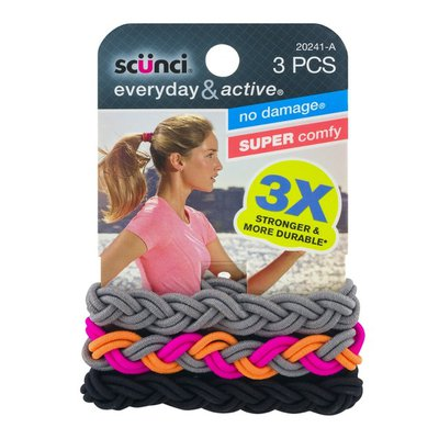 Scunci Everyday & Active No Damage Hairbands - 3 CT