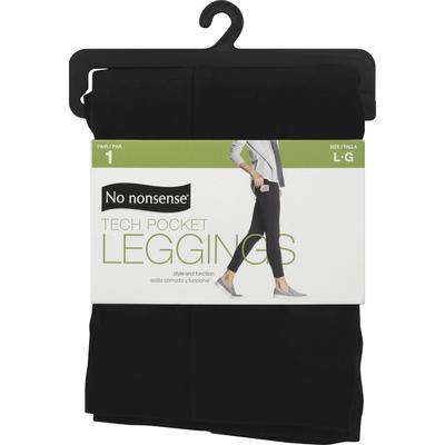 No nonsense Leggings, Tech Pocket, Black, Large