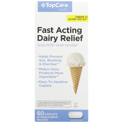 TopCare Fast Acting Dairy Relief Lactase Enzyme Dietary Supplement Easy-To-Swallow Caplets