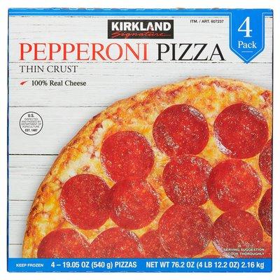 Kirkland Signature Thin Crust Pepperoni Pizza, 4 ct