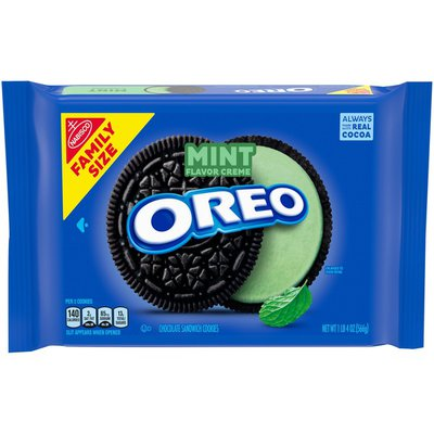 Oreo Chocolate Sandwich Cookies, Mint Flavored Creme, 1 Resealable Family Size Pack