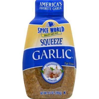 Spice World Garlic, Premium, Minced, Squeeze