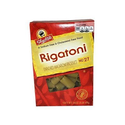 ShopRite ENRICHED MACARONI PRODUCT, Rigatoni NO. 27