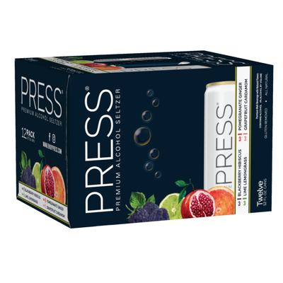 PRESS Premium Hard Seltzer Variety Pack All-Natural, Elevated Flavor Pairings, 4% ABV