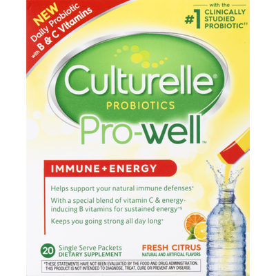 Culturelle Probiotics Pro-Well Immune + Energy Dietary Supplement Fresh Citrus - 20 CT